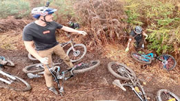 Carnage train down the latest trail at Rogate Bikepark!